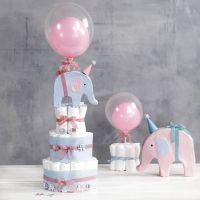 Blöjtårta med elefant och ballonger