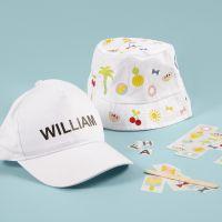 Hatt och keps dekorerade med rub on stickers