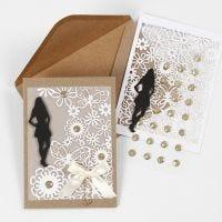 Konfirmationsinbjudning, spetskartong och pergamentpapper