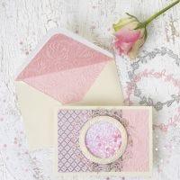 Shakerkort och kuvert med cirkelmotiv och handgjort papper