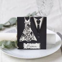 Menykort till bröllop dekorerad med klänning och smoking.