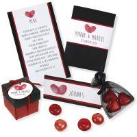 Inbjudning, placeringskort/bordskort i rött och svart